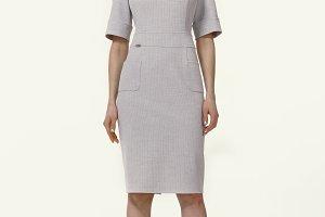 brunett woman model in summer plain white dress