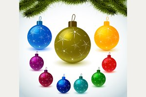 Christmas colorful balls set
