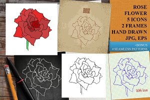 ROSE HAND DRAWN SET