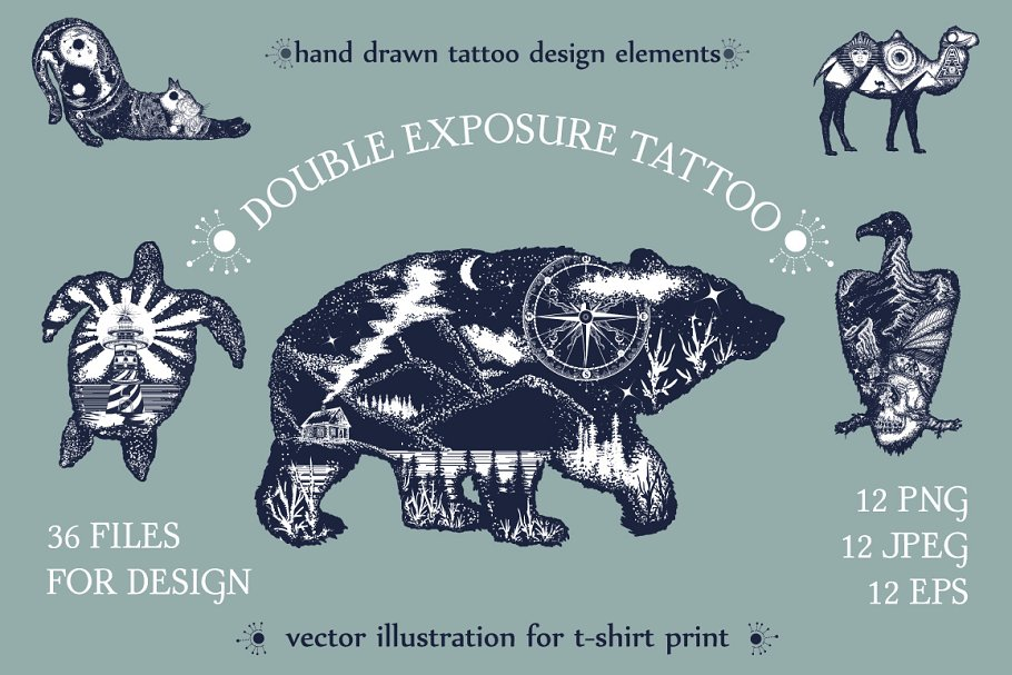 a12bfd9d2 Double exposure tattoo ~ Graphics ~ Creative Market