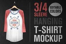 Hanging 3/4 Sleeve T-Shirt Mockup