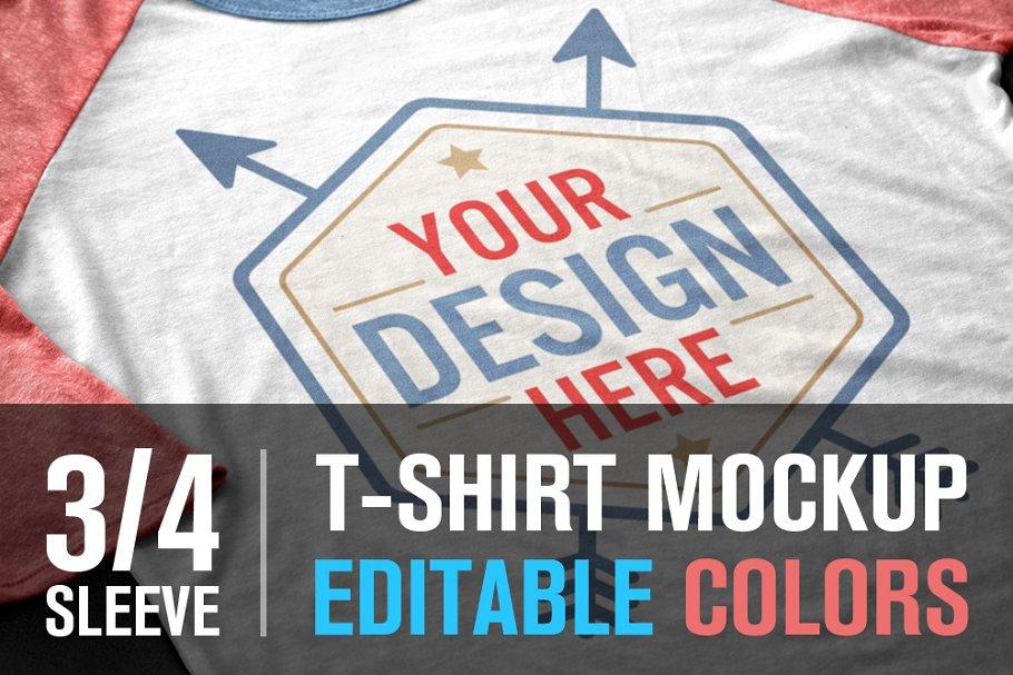 bae34191 3/4 Sleeve T-Shirt Mockup ~ Product Mockups ~ Creative Market