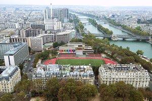 Paris aerial view of Seine and bridge