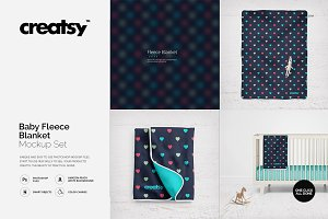 Baby Fleece Blanket Mockup Set