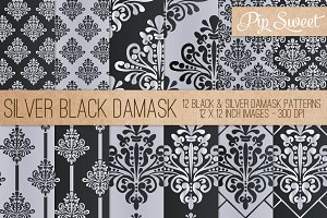 Black & Silver Damask 12 Pattern Set