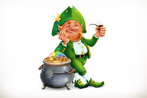 Leprechaun and pot of coins, vector
