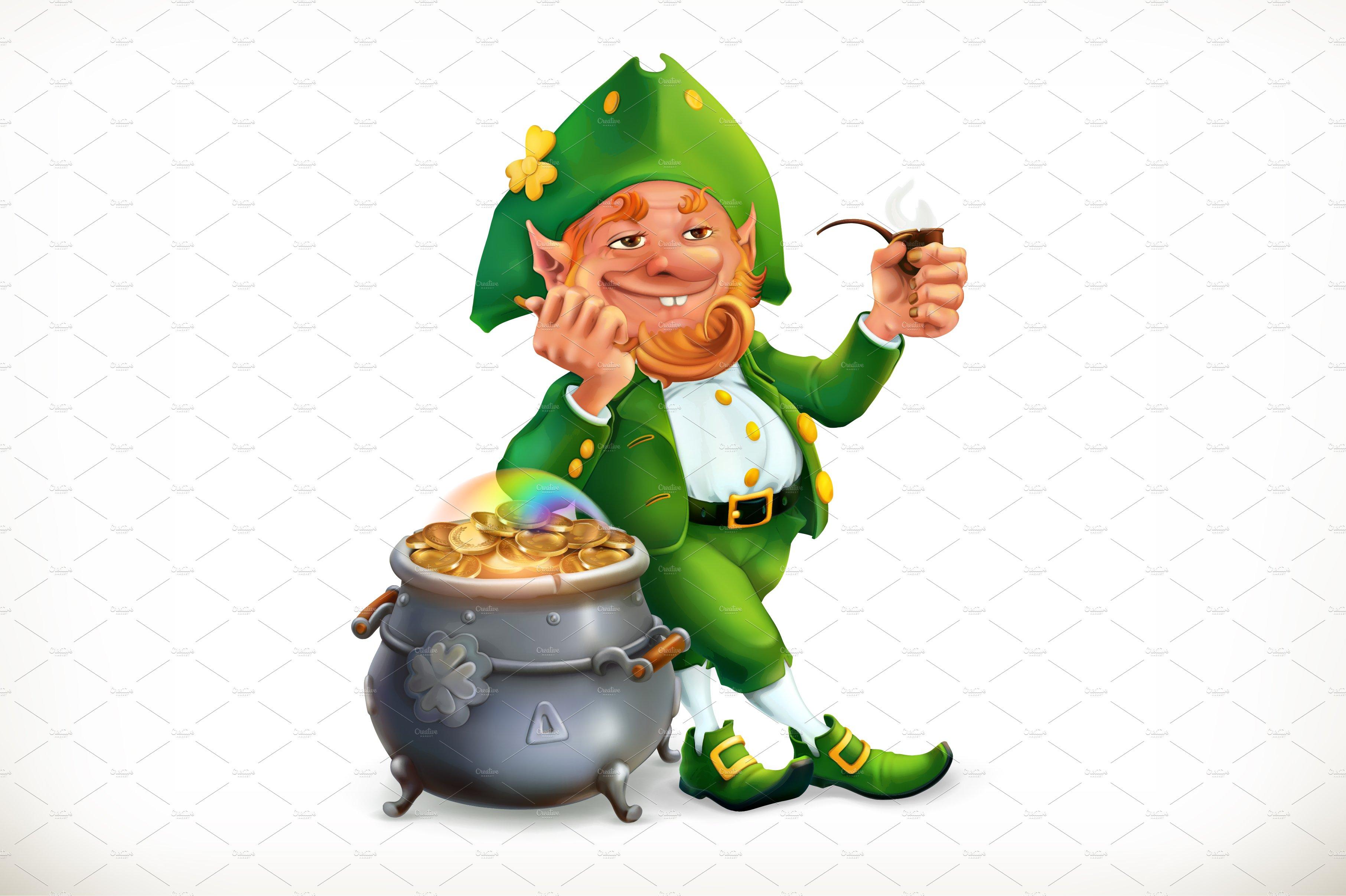 Leprechaun and pot of coins, vector ~ Icons ~ Creative Market