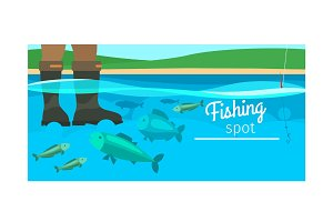 Fishing sport horizontal banner