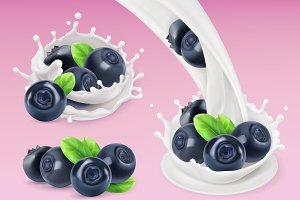 Milk splash and Blueberry. 3d vector