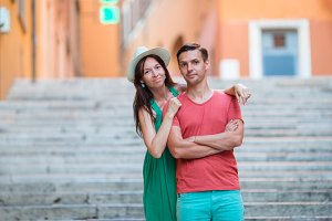 Romantic couple on Steps in Rome enjoy italian holidays.