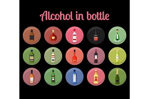 Alcohol in a bottle circle icons