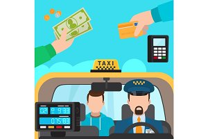 Inside taxi, payment methods