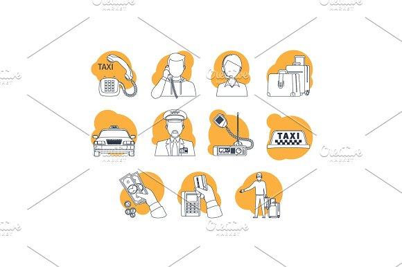 Taxi Cartoon Line Icons