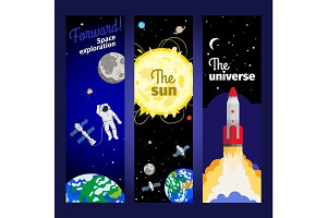 Space theme vertical flyers