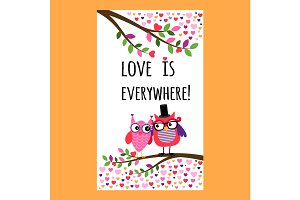 Owl Happy Valentines Day flyer