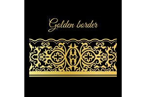 Traditional golden lacy seamless border