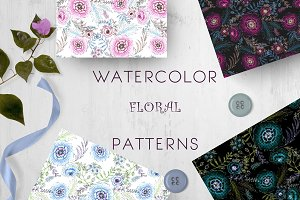 Watercolor ink 4 seamless patterns
