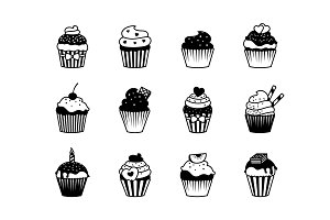 Cupcake black icons set