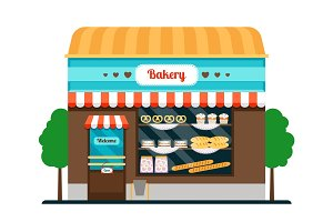 Bakery shop front veiw icon