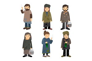 Homeless people icons