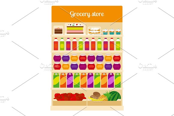 Products on groceries store shelves