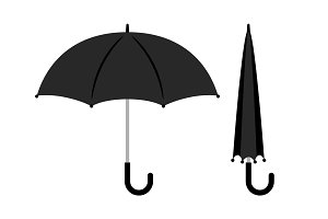 Open and folded black umbrella