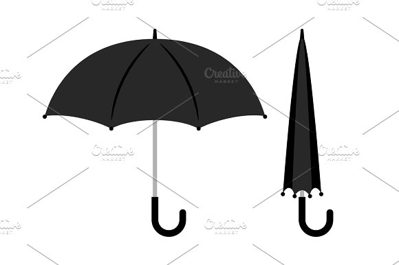 Open and folded black umbrella