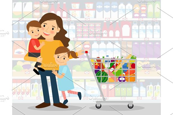 Woman in supermarket with kids