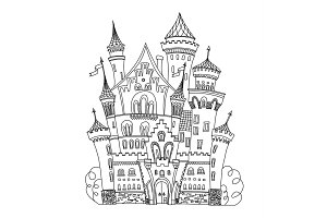 Castle coloring book for adults and children vector illustration. Anti-stress adult. Black white lines. Lace pattern