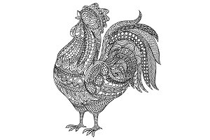 Adult and children Coloring book cock. Farm animlas. Hand-drawn hen with ethnic floral doodle pattern. For adults, vector illustration, isolated on a white background. Doodles