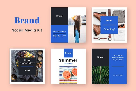 brand social media kit facebook templates creative market
