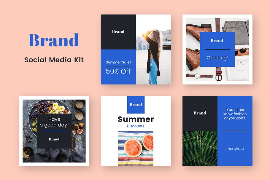 94788a00c55 Brand Social Media Kit ~ Instagram Templates ~ Creative Market