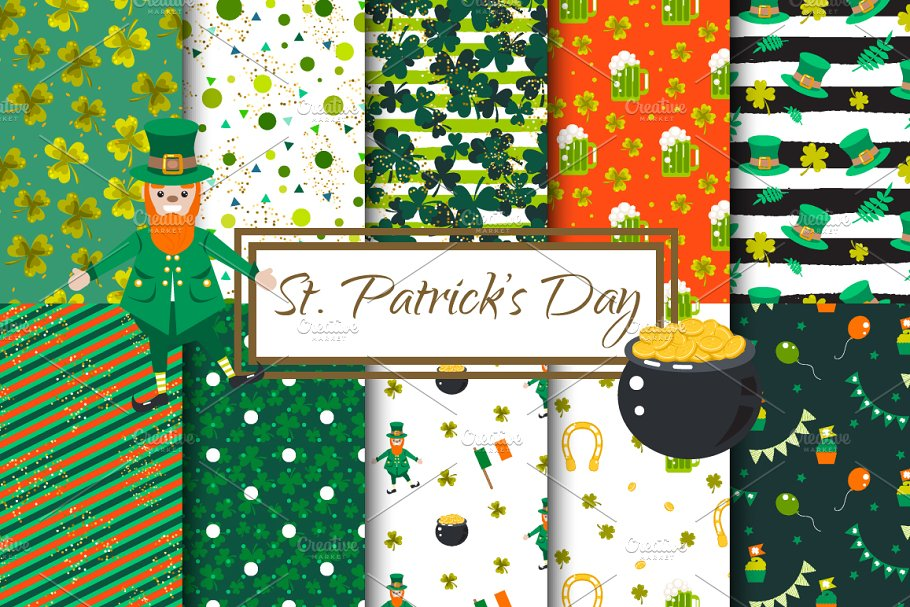 """St. Patrick's Day"" Vector Patterns"