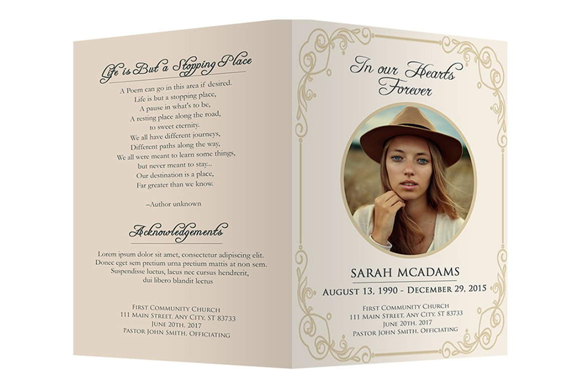 Funeral program template brochure templates creative for Free funeral program template microsoft publisher