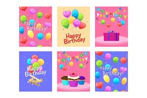 Happy birthday invitation cards set
