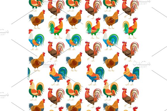 Roosters colorful seamless pattern