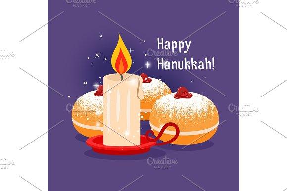 Candle and jewish baking hanukkah illustration