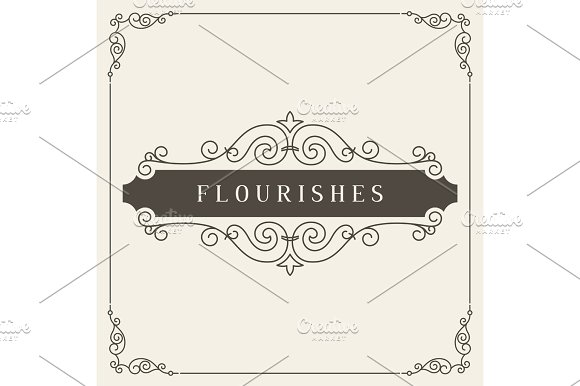 Vintage ornament greeting card vector template. Retro wedding invitations, advertising or other design and place for text. Flourishes frame. in Illustrations