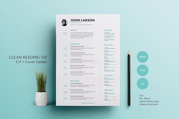 clean resume resume templates creative market