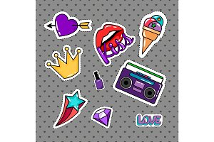 Retro style stickers set