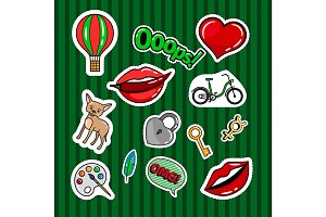 Colored quirky badges set