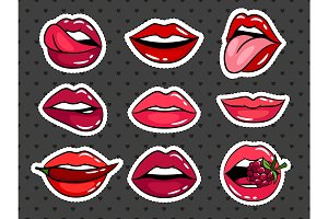Female lips stickers set