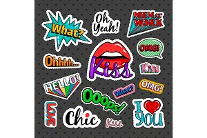 Quirky quotes stickers set