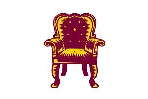 Baroque Grand Arm Chair Woodcut