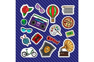 Quirky style retro patches