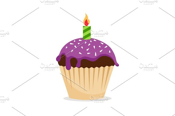 Sweet Cupcake With Candle Icon