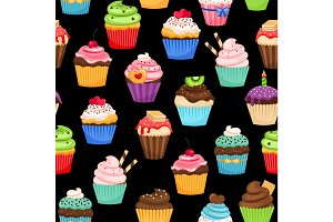 Sweet cupcakes pattern on black background