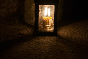candles in lantern