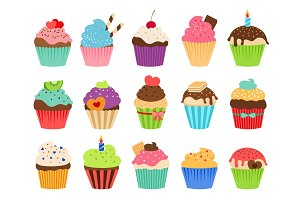 Cupcakes flat icons