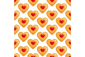 Cookies hearts seamless pattern
